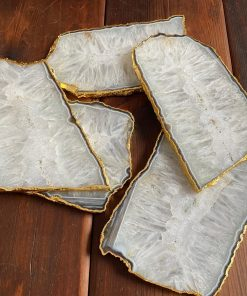 White Agate Gold Platters