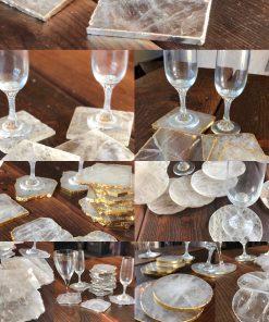 Clear Crystal Quartz Coasters